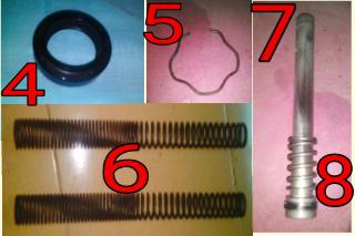 Gambar Komponen dalaman fork depan motor