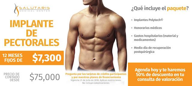 Paquete Implante de Pectorales Masculinos Precio Guadalajara Mexico