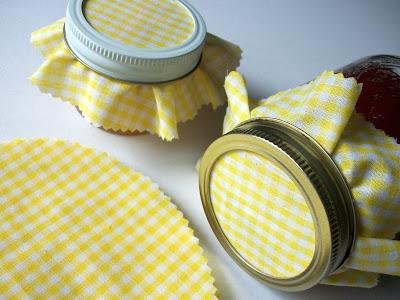 yellow gingham jam jar covers