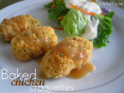 These Baked Chicken Croquettes are filled with chicken, potatoes, stuffing and some flavorful seasonings. Life-in-the-Lofthouse.com