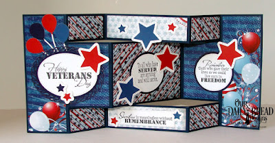 Our Daily Bread Designs, Remembrance, Stars and Stripes Paper, Tri-Shutter Card, Tri-Shutter Layers, Ovals, Layered Lacey Ovals, Ovals, Sparkling Stars, Double Stitched Stars, Circles, Pierced Circles, Happy Birthday dies, Created by Chris Olsen