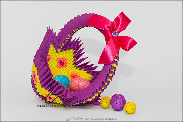 387. Koszyczek w odcieniach fioletu / 3d origami violet basket