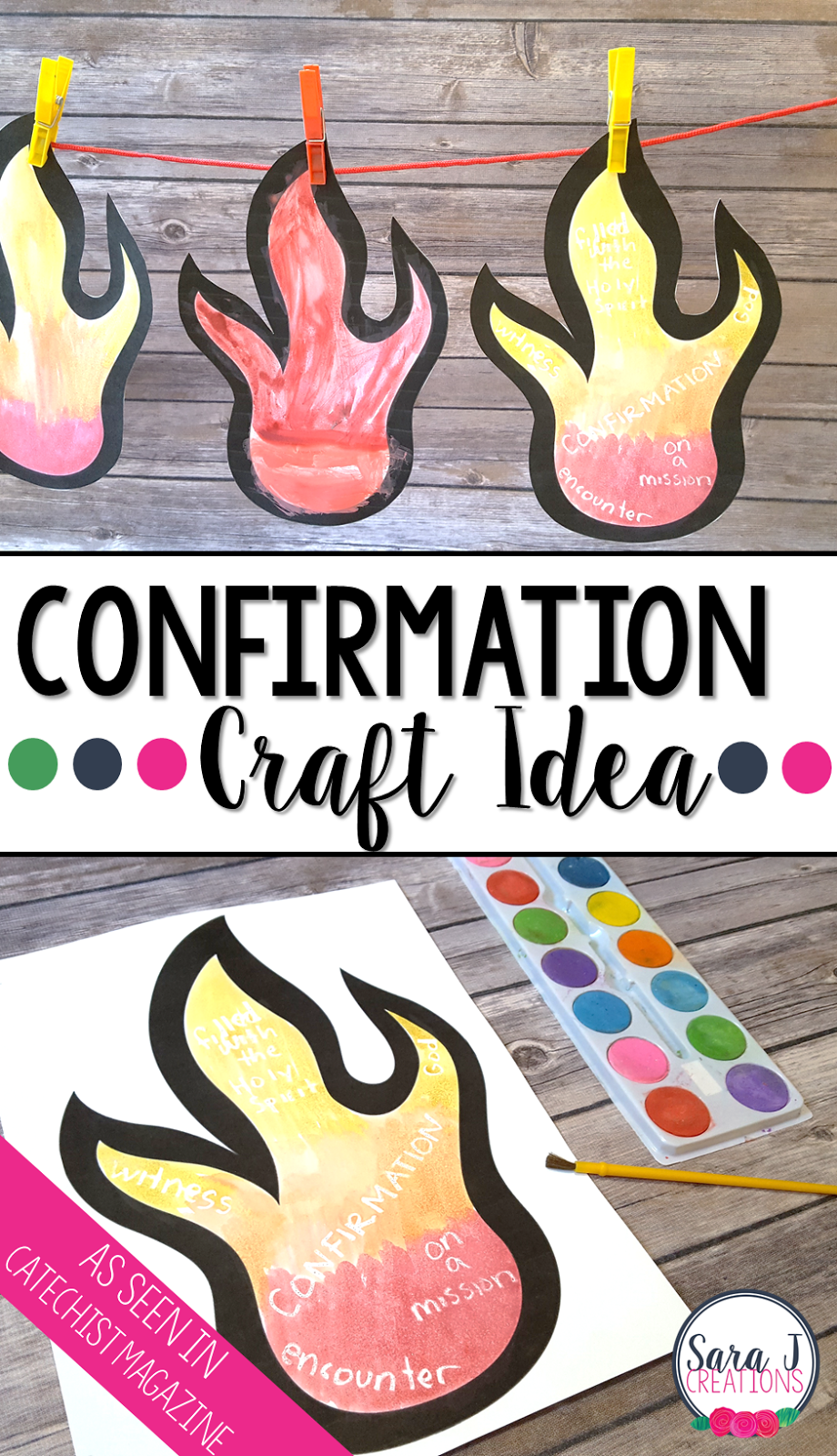 A craft idea for teaching about Confirmation and the Holy Spirit. As seen in Catechist Magazine.