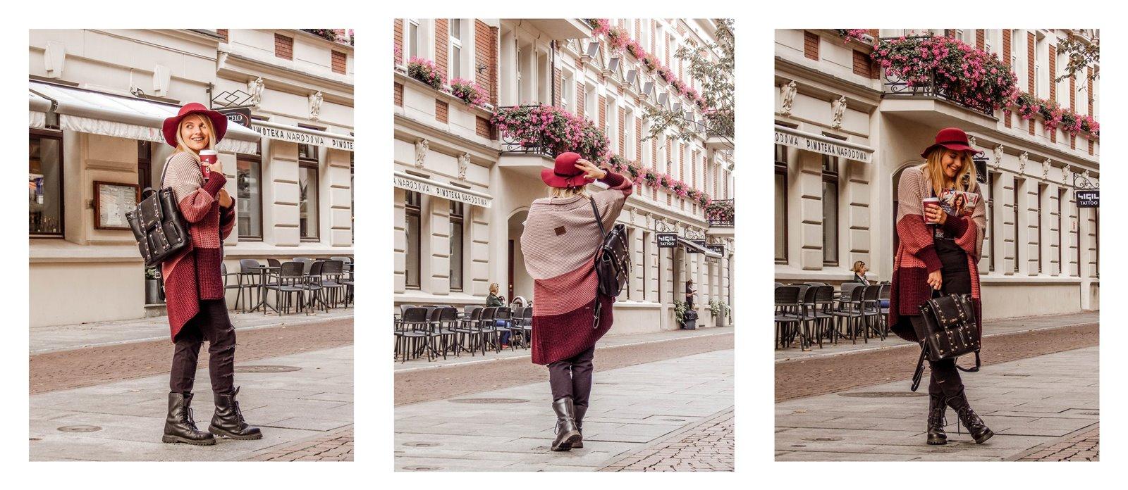 7a kardigan sweter w paski czerwony kapelusz bordowy sweter długi czarne spodnie z dziurami miejski street style styl outfit moda inspiracje pomysły łódź fotografia blog influencer modowe blogerki lifestyle podróż