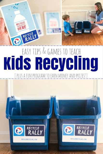 Easy tips and games to help teach kids about the importance of recycling. The PepsiCo Recycle Rally is a great program for kids with incentives to earn cash and prizes for K-12 schools. #RecycleRally #sponsored