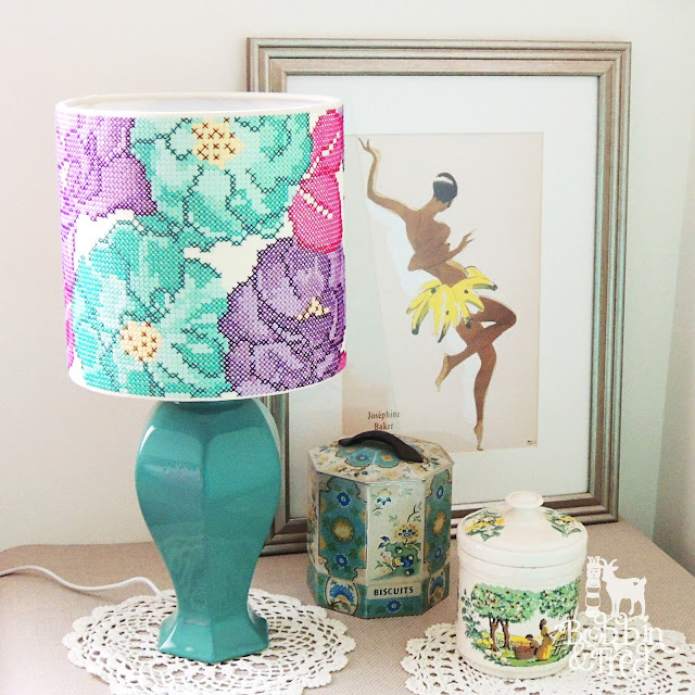 Teal, purple and pink rose cross stitch lampshade design by Bobbin and Fred