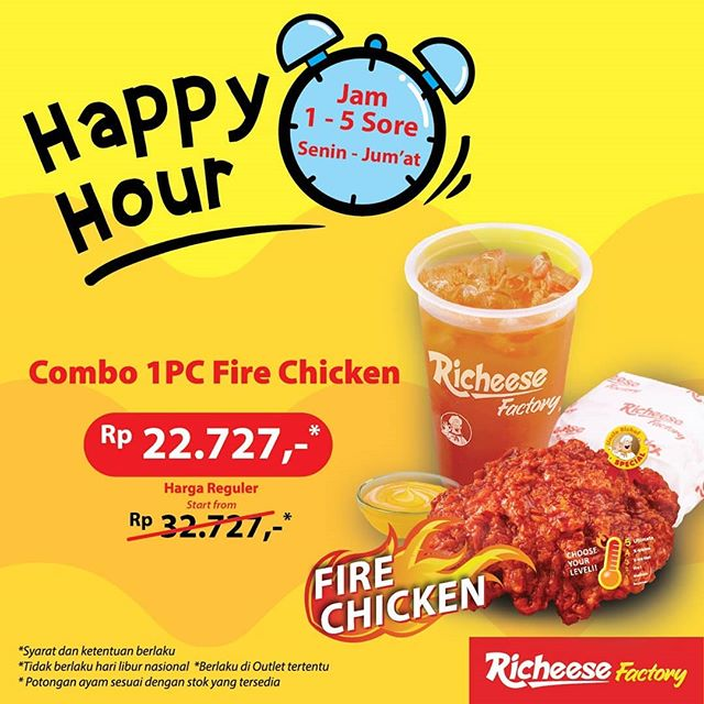 RicheeseFatory - Promo Happy Hour Combo 1PC Fire Chicken Rp.22 Ribuan