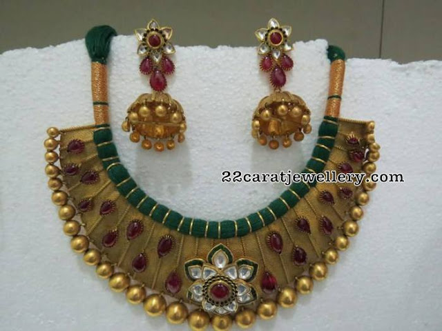 Antique Choker with Polki Ruby Jhumkas