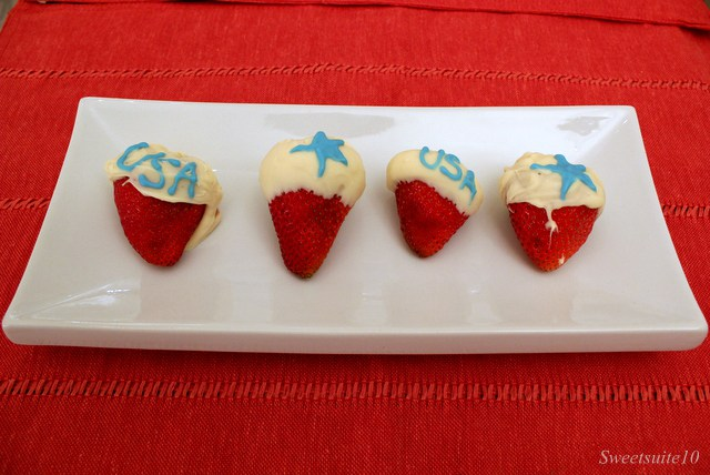 White Chocolate July 4th strawberries
