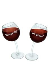 """Click here to buy the """"Wanna Get Tipsy? and Lets get Tipsy!"""" wine glass set as the perfect Mother's day gift!"""