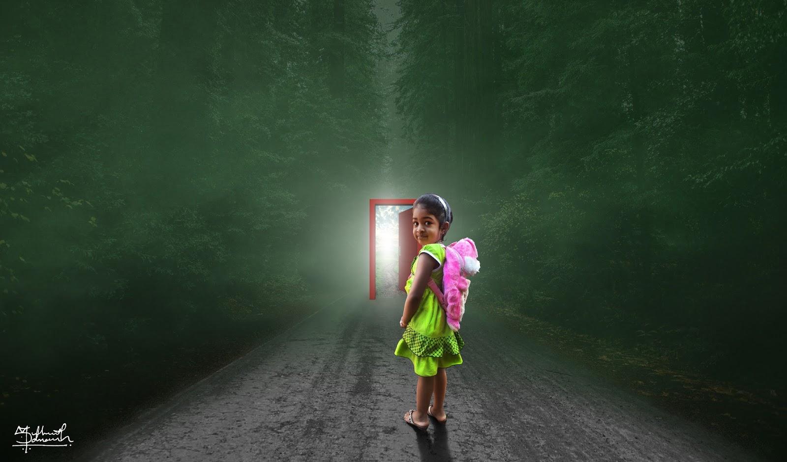 Photo Manipulation Little Girl Red Door Photoshop Tutorials By