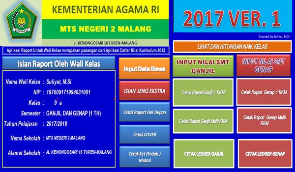 Aplikasi Raport Madrasah Tsanawiyah Kurikulum 2013 Terbaru Revisi 2017 Format Excel