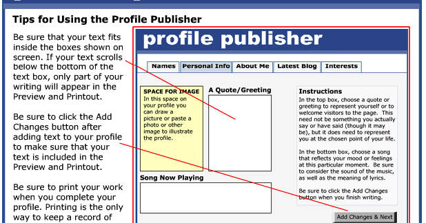 Good Interactive Tool for Students to Mock up Social Networking Profiles