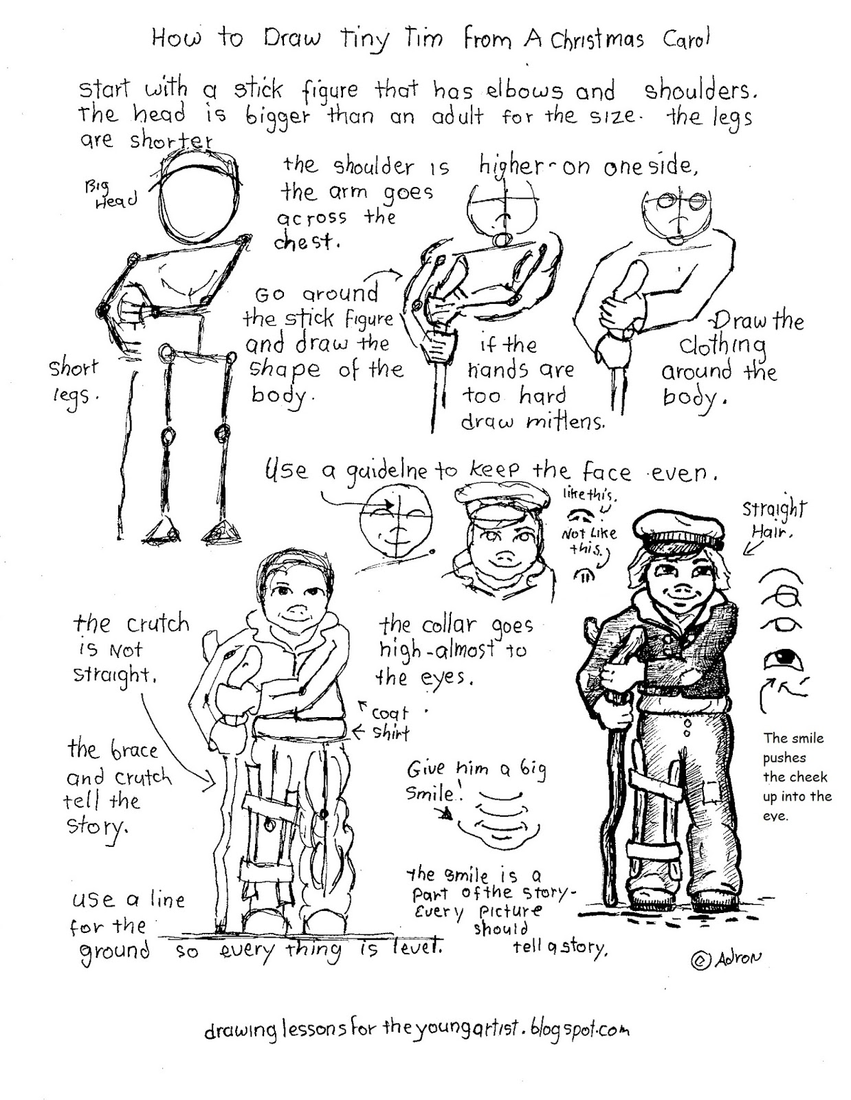 How To Draw Worksheets For The Young Artist Printable How To Draw Dicken S Tiny Tim From