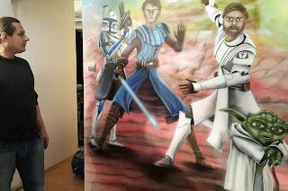 pokój nastolatka, aranżacja scian, malowanie motywu z gwiezdnych wojen, mural gwiezdne wojny