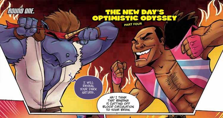 Los chicos de The New Days enfrentandose a los Dark Unicors en una historia delirante de los cómics WWE