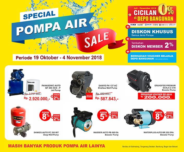 DepoBangunan - Promo Special Pompa Air Sale Gratis Voucher & Diskon 8% + 2% (s.d 4 Nov 2018)