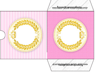 Golden Crown in Pink with Stripes and Polka Dots Free Printable Candy Bar Labels.