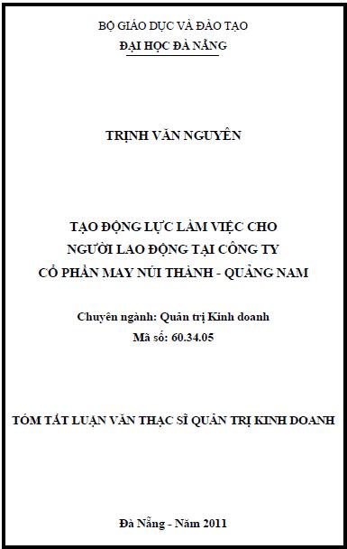 Tạo động lực làm việc cho người lao động tại công ty cổ phần may Núi Thành - Quảng Nam