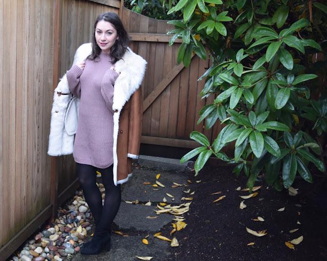sweater dress, lavendar, winter fashion