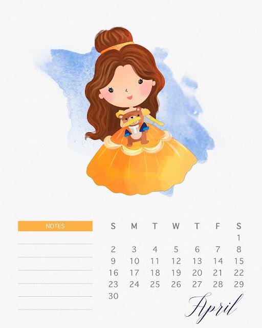 Calendario 2017 de las Princesas Disney para Imprimir Gratis  Abril.