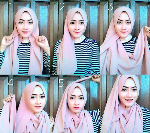 tutorial hijab pashmina monochrome