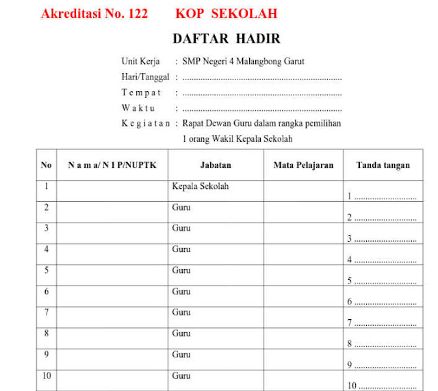 Bukti Fisik Akreditasi Instrumen No 122 Format doc