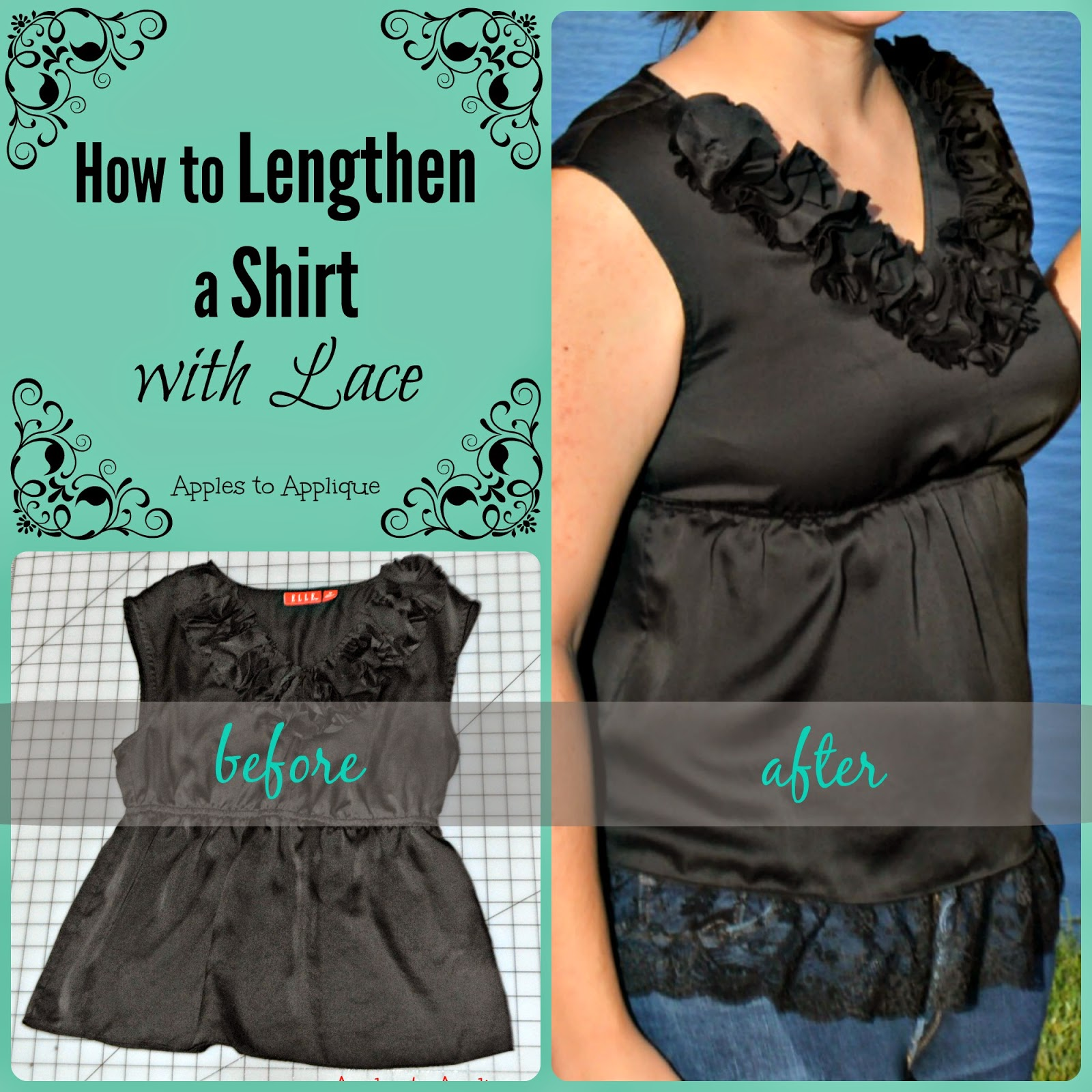 How to lengthen a shirt with lace diy image