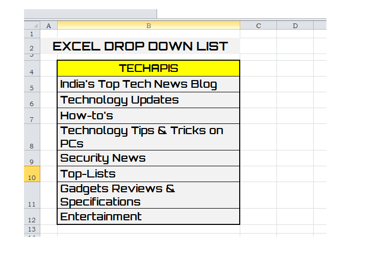 Drop Down List to an Excel Cell