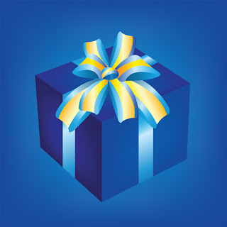 Clipart image of a Christmas gift on a blue background