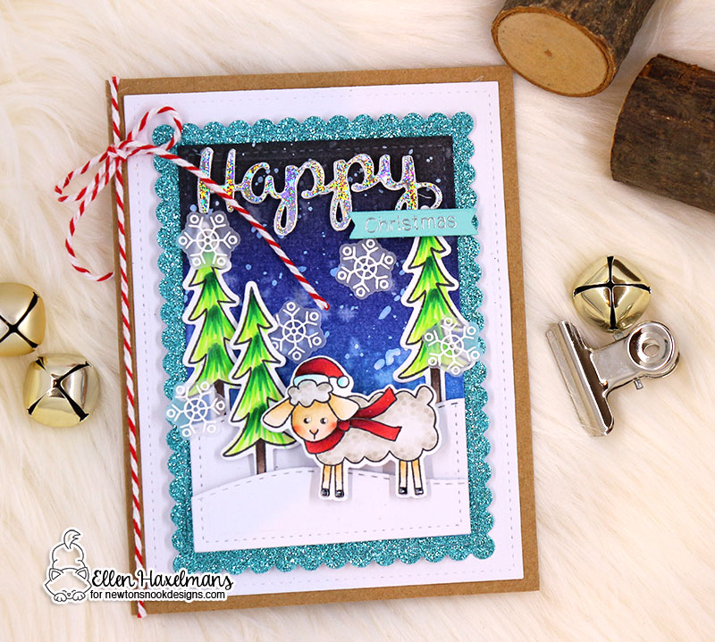 Newton's Nook Designs & Therm O Web Inspiration Week  | Christmas Cards by Ellen Haxelmans using Fleece Navidad Stamp Set by Newton's Nook Designs and Therm O Web foils #newtonsnook #thermoweb