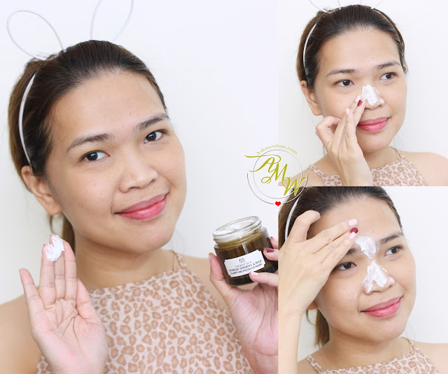 a photo on how to apply The Body Shop Himalayan Charcoal and Chinese Ginseng & Rice