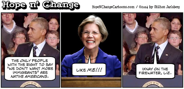 stilton's place, stilton, political, humor, conservative, cartoons, jokes, hope n' change, elizabeth warren, indian, dna test, pocahontas