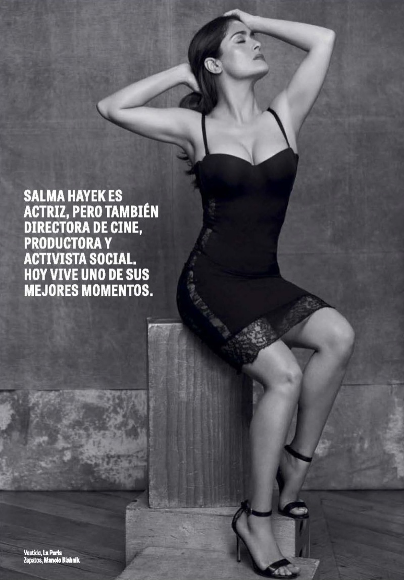 Salma Hayek poses in La Perla lace-trimmed dress and Manolo Blahnik heels
