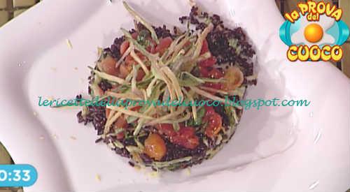 Prova del cuoco - Ingredienti e procedimento della ricetta Insalata di riso venere pomodorini e zucchine fritte di Francesca Marsetti