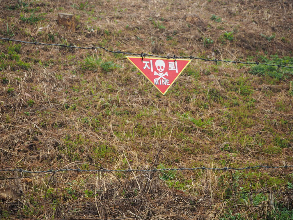 Land mine sign at North Korean border