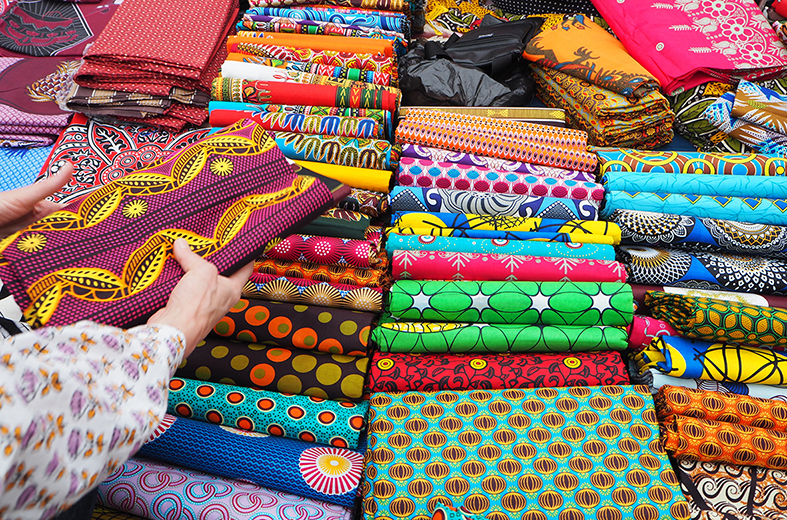African wax prints at the markets