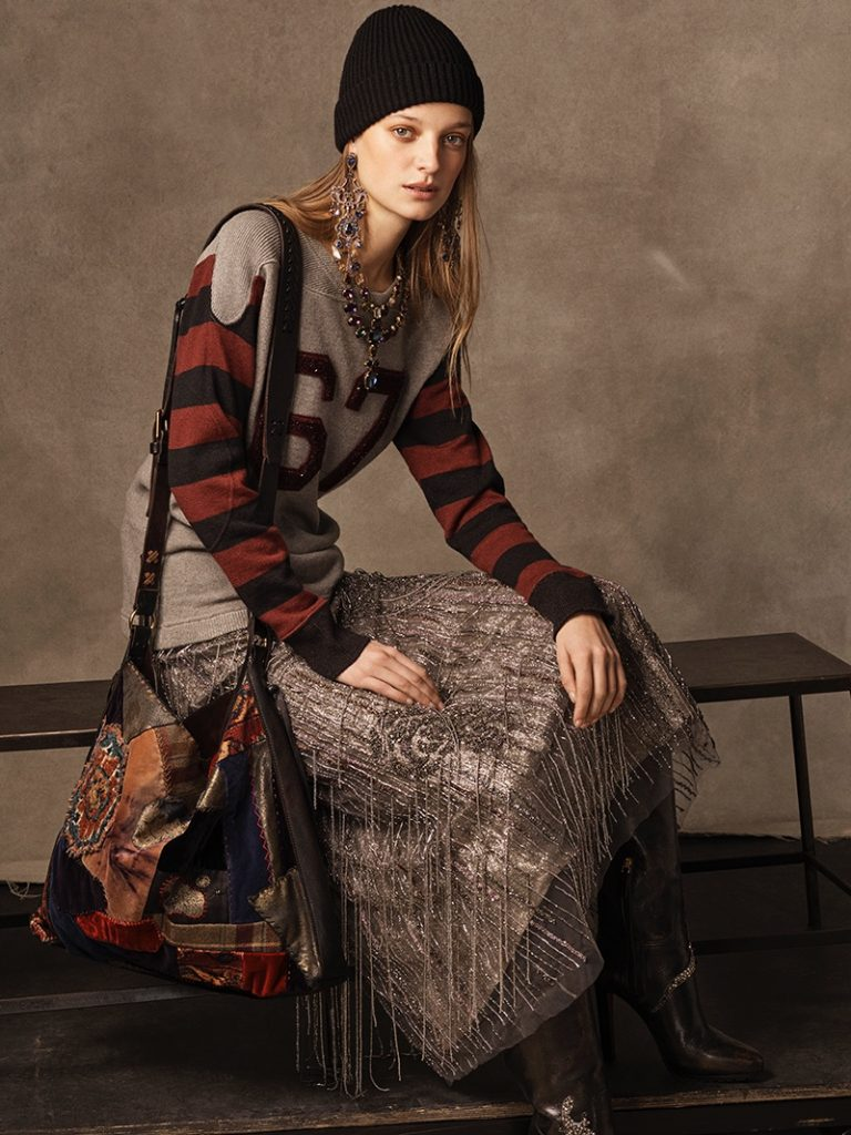 Ralph Lauren Collection 67 Linen-Cashmere Sweater, 'Greeley' Beaded Skirt, 'Watchman' Cashmere Hat, Large Patchwork Shoulder Bag and 'Remmy II' Calfskin Boot