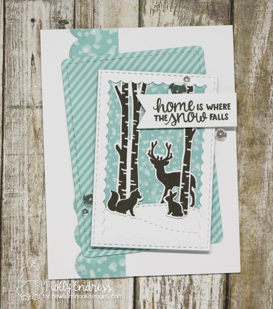 Home is Where the Snow Falls Card by Holly Endress | Serene Silhouettes Stamp Set and various die sets by Newton's Nook Designs #newtonsnook #handmade
