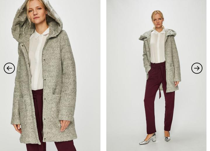 Review - Palton fete modern casual de iarna gri cu gluga