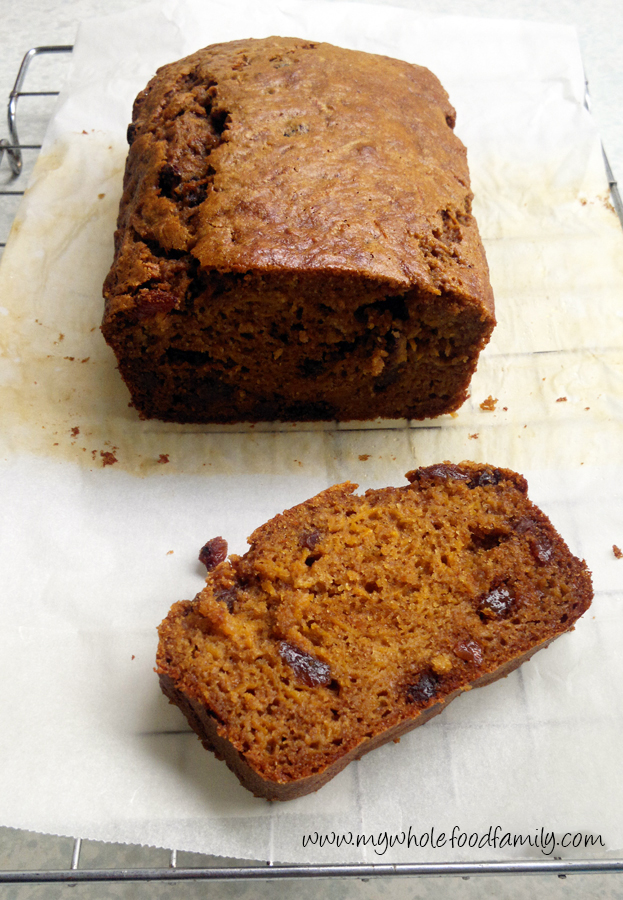 Pumpkin fruit cake - wheat, dairy and refined sugar free - www.mywholefoodfamily.com