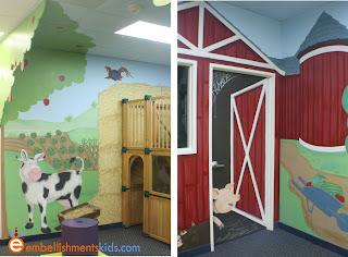 barn theme mural by Embellishmentskids.com