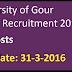 University of Gour Banga Recruitment 2016 Apply for 49 Teaching position Posts