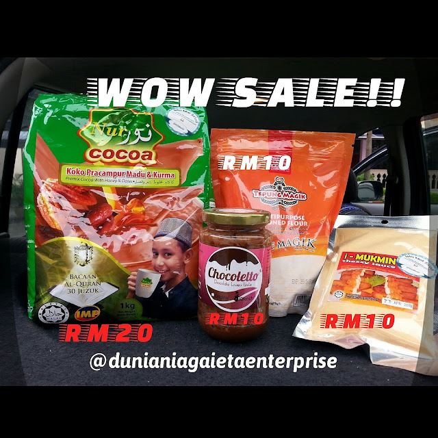 Wordless Of Wednesday 49 : WOW SALE!!, Dunia Niaga ieta Enterprise, produk terlaris DNIE, Tepung Magik, Nur Cocoa, imukmin chezzy sauce, Chocoletto