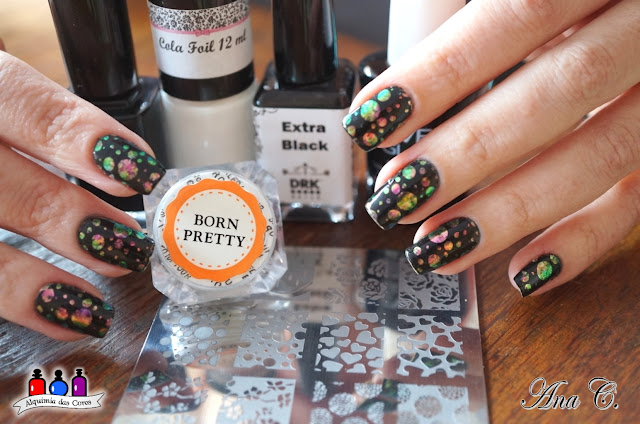 Born Pretty, Colorful Nail Flakies, 39810-3, kn 10, drk extra black