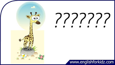 giraffe flashcard, cartoon giraffe image, esl flashcard