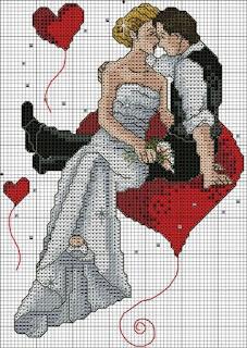Dia dos Namorados Especial Em Ponto Cruz Com Gráfico 56