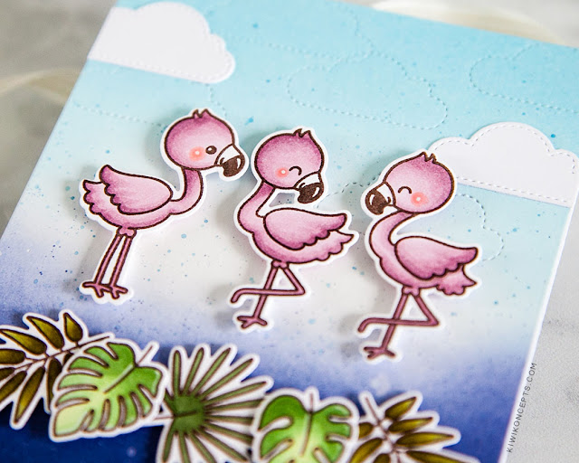 Sunny Studio Stamps: Fabulous Flamingos Frilly Frames Stripes Dies Fluffy Clouds Birthday Card Summer Themed Card by Keeway Tsao
