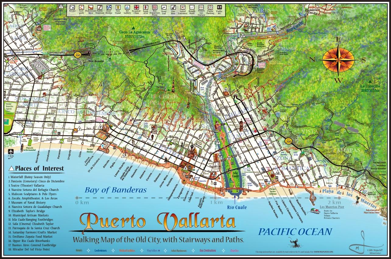 . mapa jeff cartography puerto vallarta walking map