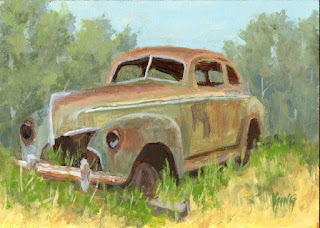 painting automotive art mercury car abandoned rusty